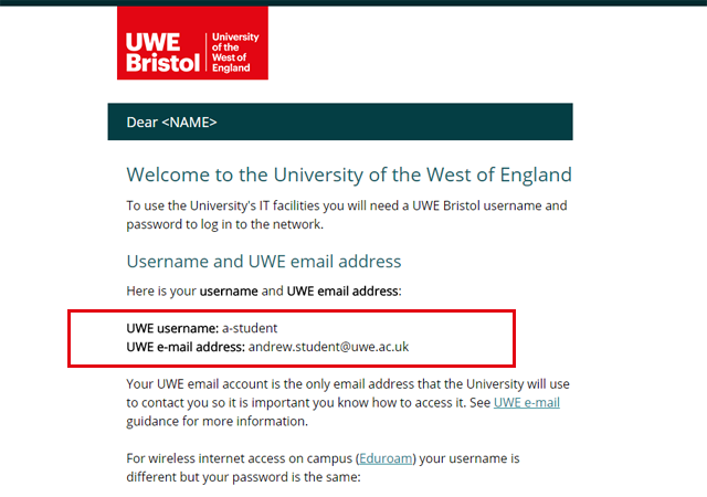 Username password request guidance notes - UWE Bristol