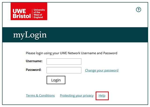Username password request guidance notes - UWE Bristol